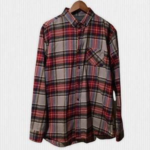 Rue St Patrick Red Plaid Cotton Flannel Shirt XL